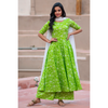 Green Bandhani Suit Set With Dupatta