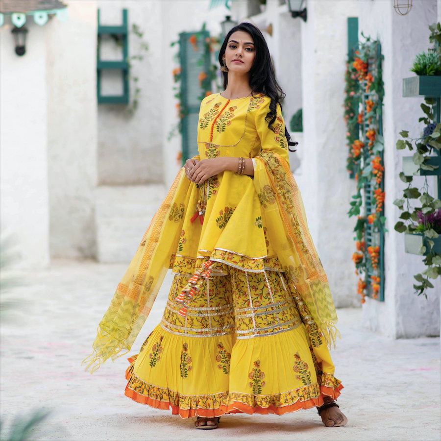 Yellow Sunshine Sharara Set