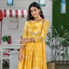 Yellow Bandhani Cut Away Gota Dress
