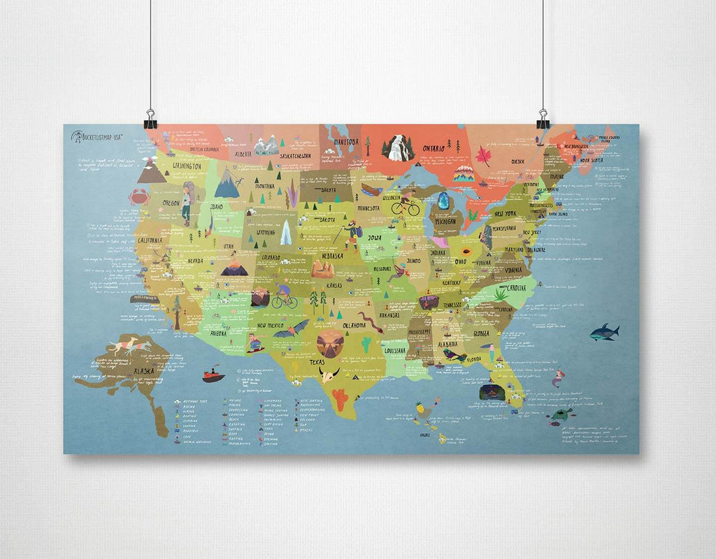 Usa Bucket List Travel Map Poster Awesome Maps