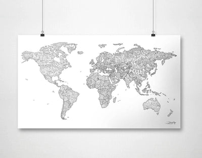 image of a black and white map wall art