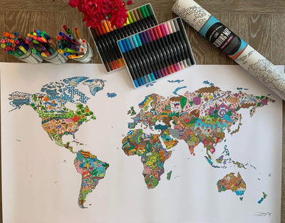image of world coloring map completed