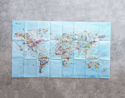 image of scuba diving spots foldable world map
