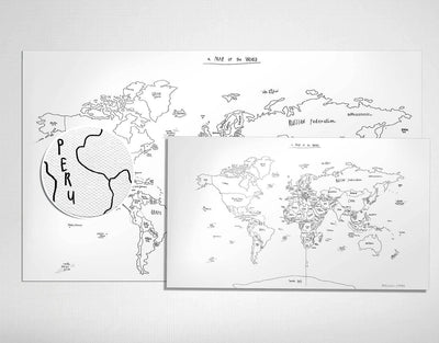 image of world map black and white canvas print