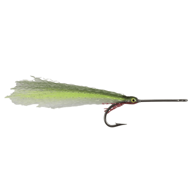 synthetic white and chartreuse streamer tied on back of hook