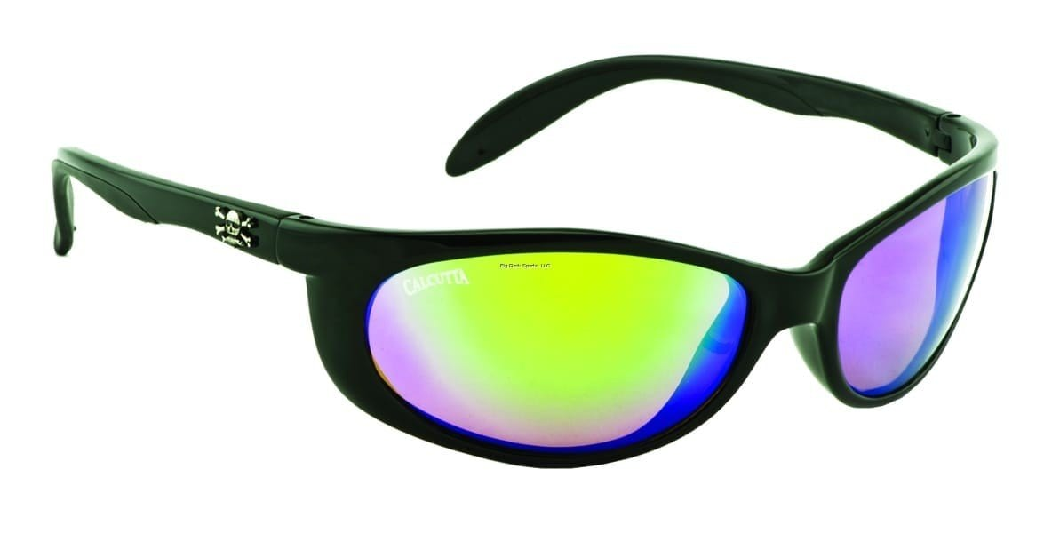 Calcutta Smoker Sunglasses (Shiny Black Frame/Green Mirror Lens)