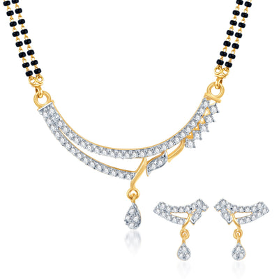 Pissara Marvellous Gold Plated CZ Set of 3 Mangalsutra Set Combo For Women-1