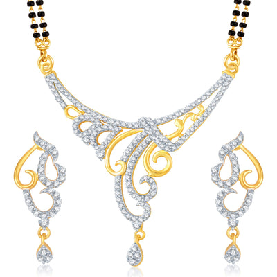 Pissara Glimmery Gold Plated CZ Set of 3 Mangalsutra Set Combo For Women-1