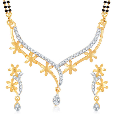 Pissara Glimmery Gold Plated CZ Set of 3 Mangalsutra Set Combo For Women-2