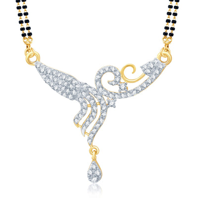 Pissara Classic Gold and Rhodium Plated Cubic Zirconia Stone Studded Mangalsutra Set-1