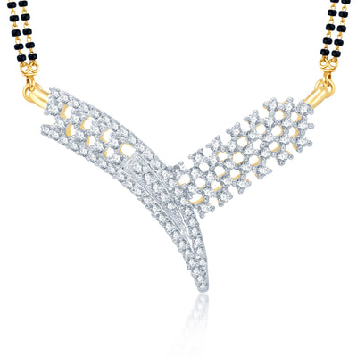Pissara Artistically Gold and Rhodium Plated Cubic Zirconia Stone Studded Mangalsutra Set-1