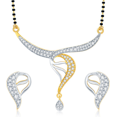 Pissara Classy Gold Plated CZ Set of 3 Mangalsutra Set Combo For Women-1