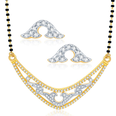 Pissara Exotic Gold Plated CZ Set of 3 Mangalsutra Set Combo For Women-1