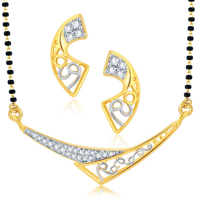 Pissara Exotic Gold Plated CZ Set of 3 Mangalsutra Set Combo For Women-2