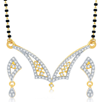 Pissara Classy Gold Plated CZ Set of 3 Mangalsutra Set Combo For Women-3