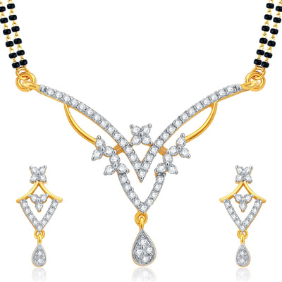 Pissara Intricately Crafted Gold Plated CZ Set of 3 Mangalsutra Set Combo For Women-1