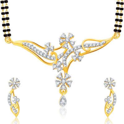 Pissara Trendy Gold Plated CZ Set of 3 Mangalsutra Set Combo For Women-1