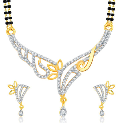 Pissara Trendy Gold Plated CZ Set of 3 Mangalsutra Set Combo For Women-3