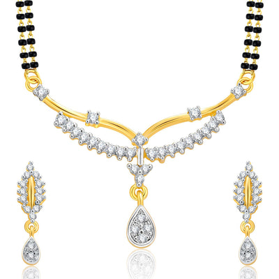 Pissara Attractive Gold Plated CZ Set of 3 Mangalsutra Set Combo For Women-3