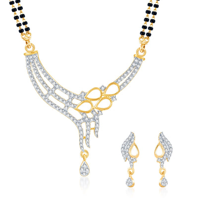 Pissara Marvellous Gold Plated CZ Set of 3 Mangalsutra Set Combo For Women-3