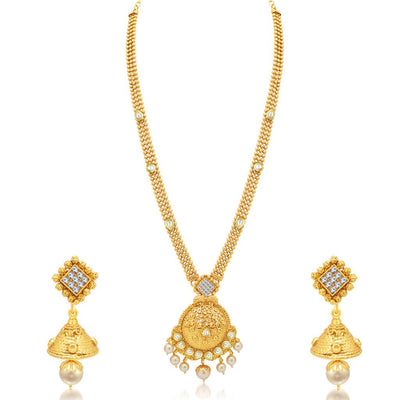 Sukkhi Long Haram Gold Plated Necklace Set Combo For Women