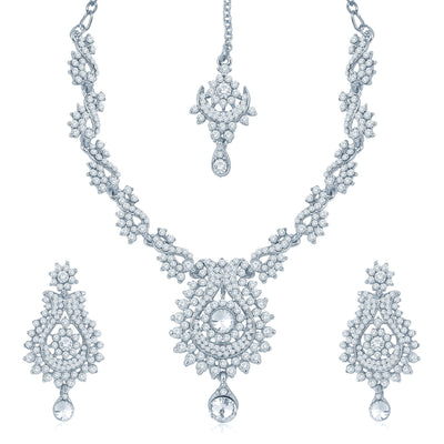 Sukkhi Magnificent Rhodium Plated Australian Diamond Stone Studded Necklace Set