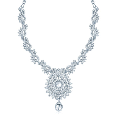 Sukkhi Magnificent Rhodium Plated Australian Diamond Stone Studded Necklace Set-1