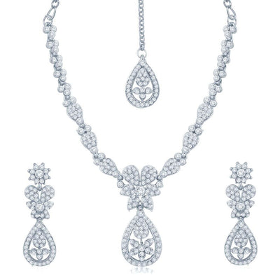 Sukkhi Luxurious Rhodium Plated Australian Diamond Stone Studded Necklace Set