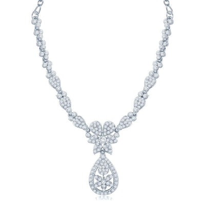 Sukkhi Luxurious Rhodium Plated Australian Diamond Stone Studded Necklace Set-1