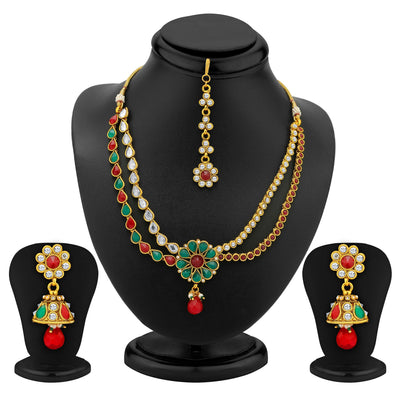 Sukkhi 2 Strings Gold Plated AD, Ruby and Emerald Antique Necklace Set