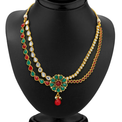 Sukkhi 2 Strings Gold Plated AD, Ruby and Emerald Antique Necklace Set-1