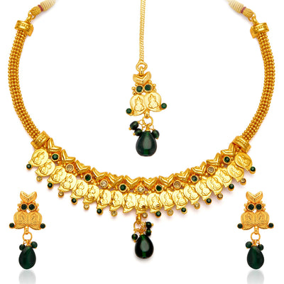 Sukkhi Fashionable Gold Plated Temple Jewellery Necklace Set for Women-4