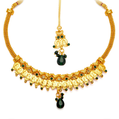 Sukkhi Fashionable Gold Plated Temple Jewellery Necklace Set for Women-5