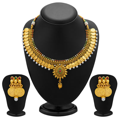 Sukkhi Eye-Catchy Gold Plated Temple Jewellery Coin Necklace Set for Women