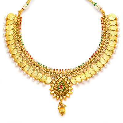 Sukkhi Eye-Catchy Gold Plated Temple Jewellery Coin Necklace Set for Women-4