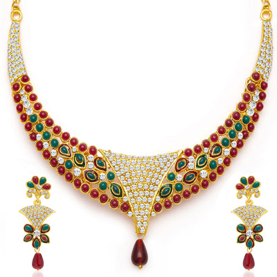Sukkhi Creative Gold Plated Meenakari AD Necklace Set for Women-3