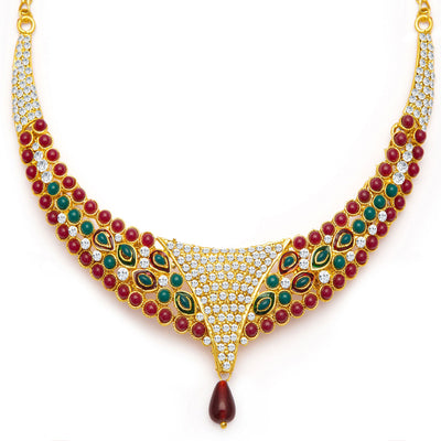 Sukkhi Creative Gold Plated Meenakari AD Necklace Set for Women-4