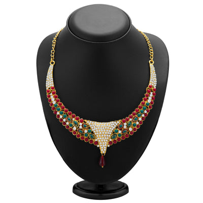 Sukkhi Creative Gold Plated Meenakari AD Necklace Set for Women-1