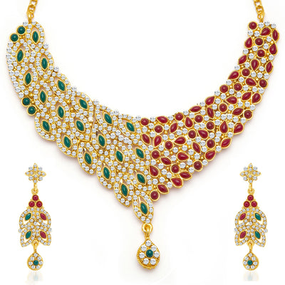 Sukkhi Delightly Gold Plated Meenakari AD Necklace Set for Women-3