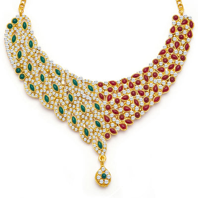 Sukkhi Delightly Gold Plated Meenakari AD Necklace Set for Women-4