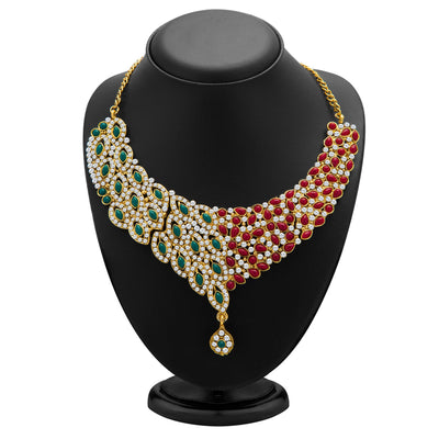 Sukkhi Delightly Gold Plated Meenakari AD Necklace Set for Women-1