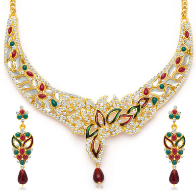 Sukkhi Sleek Gold Plated Meenakari AD Necklace Set for Women-3
