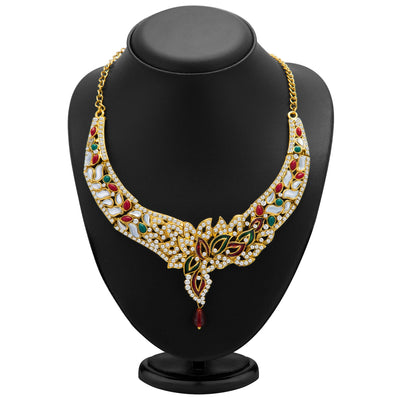 Sukkhi Sleek Gold Plated Meenakari AD Necklace Set for Women-1