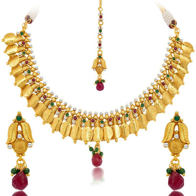 Sukkhi Marvellous Gold Plated Temple Jewellery Coin Necklace Set for Women-4