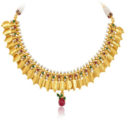Sukkhi Marvellous Gold Plated Temple Jewellery Coin Necklace Set for Women-5