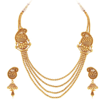 Sukkhi Incredible Gold Plated Kairi Design 4 String Necklace Set for Women-3
