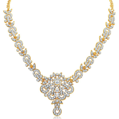 Sukkhi Stunning Gold Plated AD Necklace Set for Women-4