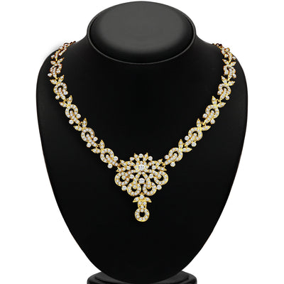 Sukkhi Stunning Gold Plated AD Necklace Set for Women-1