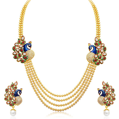 Sukkhi Gleaming Peacock Four Strings Gold Plated Necklace Set-1