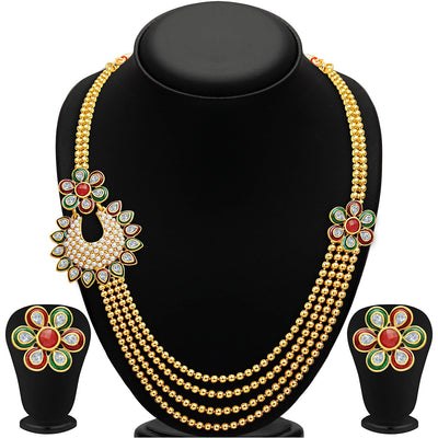 Sukkhi Bewitching Four Strings Gold Plated Necklace Set